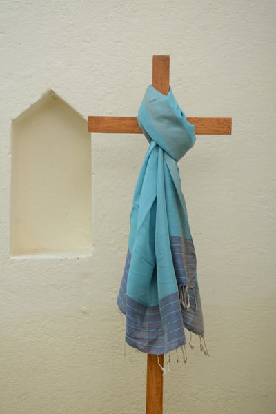 Sky Blue Striped Shawl