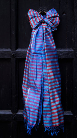 Blue Striped Pure Silk scarf with Zari border