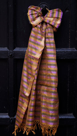 Multi-coloured Pure Silk, Striped scarf with zari border