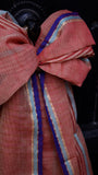 Silk-Cotton-Linen scarf in Visually Contrasting Colours