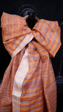 Tie-dyed Silk by Cotton scarf with Zari border