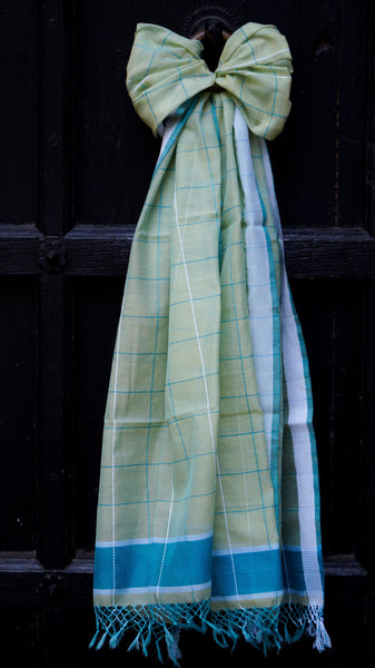 Checkered Dull green scarf with Sonari border