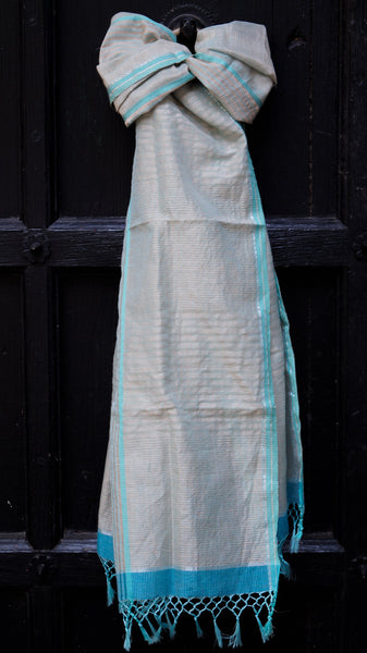 Silk-Cotton-Linen scarf with a Refreshing Colour Palette
