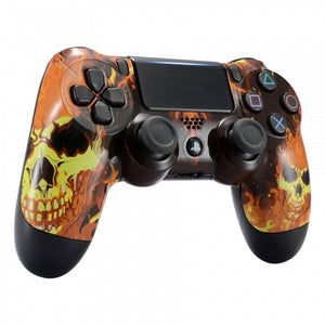 Ghost Rider Inspired Burning Skull Shell Faceplate Housing Cover for PS4 Pro Slim Controller