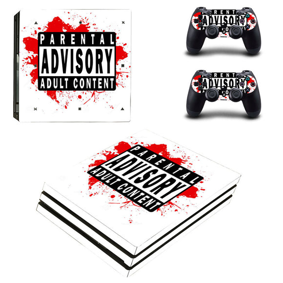 Parental Advisory PS4 Pro Skin Sticker & 2 Controller Skins