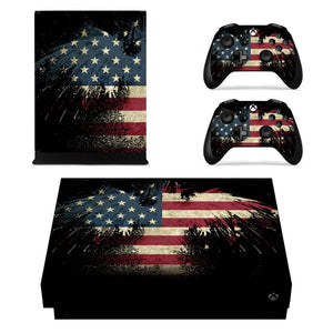 Xbox One X Console Skin set American Flag Style