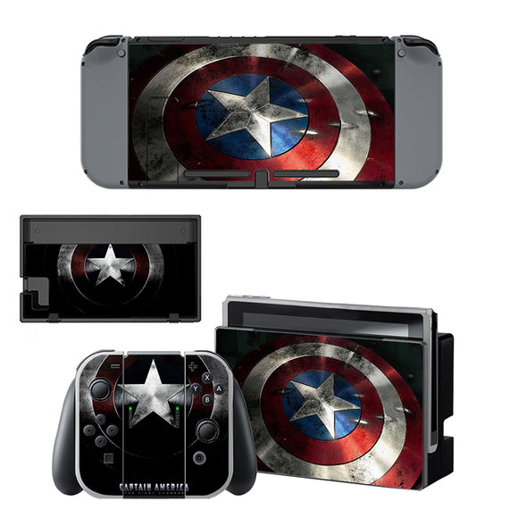 Captain America Vinyl Skin Sticker For Nintendo Switch Console Set