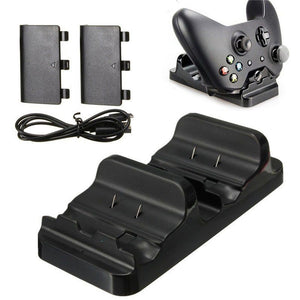 Dual Charging Dock Station Charger Stand with  2 Pcs Rechargeable Batteries Pack For XBOX ONE Slim Controllers