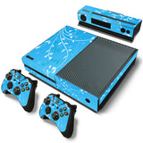 Sky Blue Decal Sticker with 2 Pcs Controller Sticker for Xbox One Console