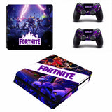 Fortnite theme Skin Sticker For Sony PlayStation 4 Slim Console and 2 Controllers Skins Sticker Decal Vinyl