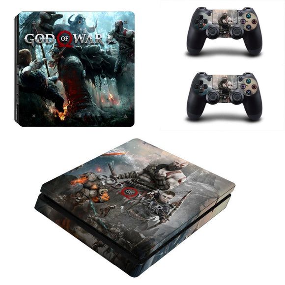 God of War PS4 Slim Skin Sticker For Sony PlayStation 4 Console and 2 Controllers PS4 Slim Stickers Decal Vinyl