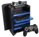 Multifunctional Detachable Holder Game Disk Storage Tower+Dual Dock Controller Charging Station for PlayStation PS4/PS4 Slim/PS4 Pro/Xbox One S