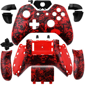 Xbox One Controller Custom Red Grave Skulls Full Housing Shell Case set