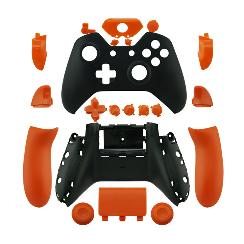 Matte Black Controller Shell Mod Kit + Buttons Orange Shell Housing Cases  for Xbox One Controller