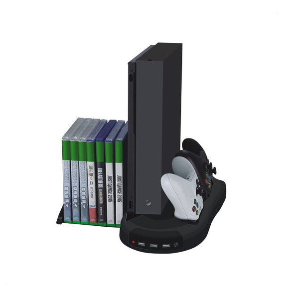 Multifunctional Disk Storage Tower with 2 Controller Charging Dock and Console Cooling Fan Cooler for Xbox One X