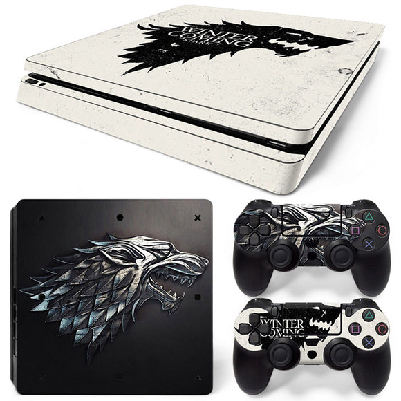 New Arrival Winter is Coming Design Skin Sticker for PS4 Slim + 2 Controller Skin