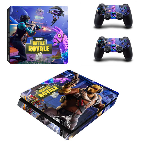 Battle Royal Fortnite Style Skin Sticker Decal for PS4 Slim Console with 2 Controller Sticker.