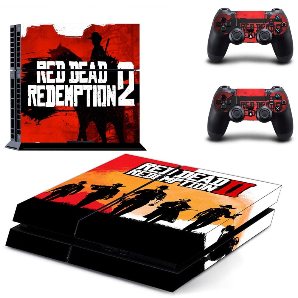 Red Dead Redemption II 2 Skin Sticker for Sony PlayStation PS4 Console and  2 controller Skins