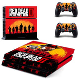 Red Dead Redemption II 2 Skin Sticker for PS4 Console Set