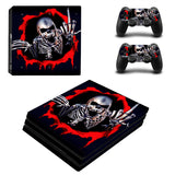 Ghost Skull Design Protector Skin Sticker Cover Wrap For PS4 Pro Console