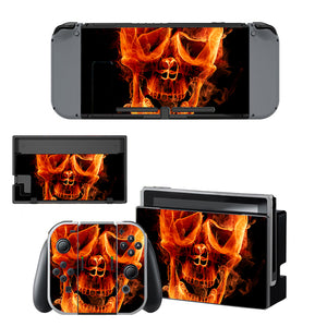 Skull Fire Cover Vinyl Skins For Nintendo Switch Console Skin Sticker Set