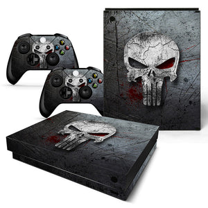 Punisher Style Skull Style Skin Sticker Decal for Xbox One X Console Set