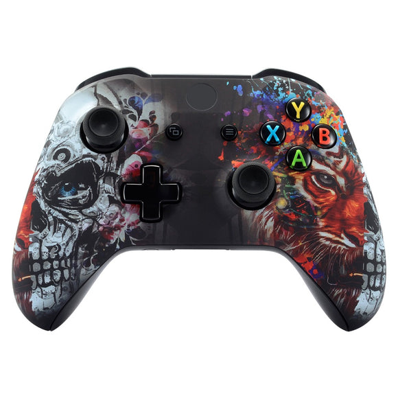 Tiger and Skull Style Front Housing Shell Faceplate Cover for Xbox One S & for Xbox One X Controller