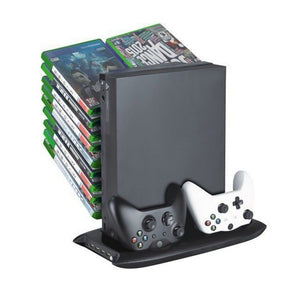 Xbox One X Vertical Stand Cooling Fan & Game Discs Storage Tower Mounts & Dualshock Charger, Controller Charging Station for Xbox One X