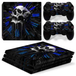 Skull Style Waterproof Skin Sticker for PS4 Pro console and controllers