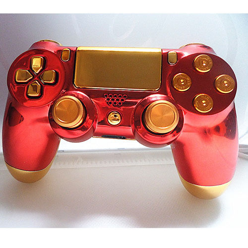 Iron Man Housing Shell Case Cover Skin Protector Replacement For PS4 Controller Full Sets Chrome