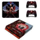 God of War PS4 Slim Skin Sticker For Sony PlayStation 4 Console and 2 Controllers PS4 Slim Stickers Decal Vinyl xc