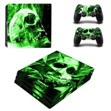 Green Skull Design Protector Skin Sticker Cover Wrap For PS4 Pro Console