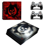 Red Skull Design Protector Skin Sticker Cover Wrap For PS4 Pro Console