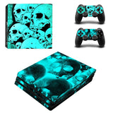 Blue Skull Design Protector Skin Sticker Cover Wrap For PS4 Pro Console