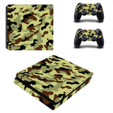 Camouflage Print Decal Skin for PS4 Slim with two protective Skins Decals for PS4 Controllers