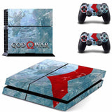Blue God of War Style PS4 Console Sticker Skin Set