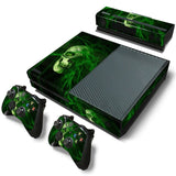 Green Skull Skin Decal Sticker with 2 Pcs Controller Sticker for Xbox One Console