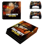 PS4 PRO console Skin Decal Sticker + 2 Controller Skins Set (Pro Only) - Call of Duty:WWII