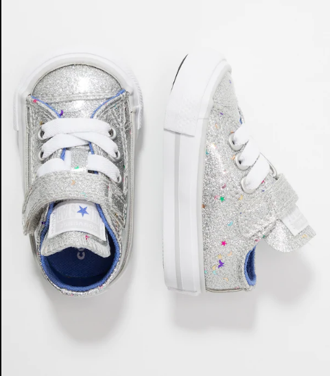 All star Converse - glitter silver with stars