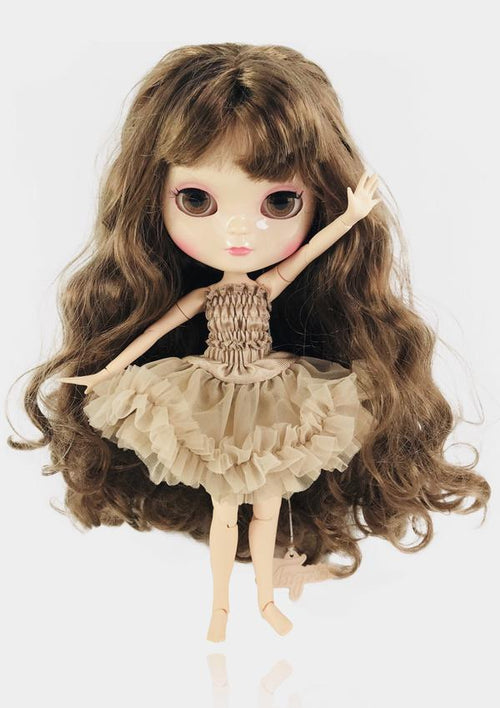 ANGELA DOLL ICY DOLL - BROWN BRUNETTE/ TAUPE