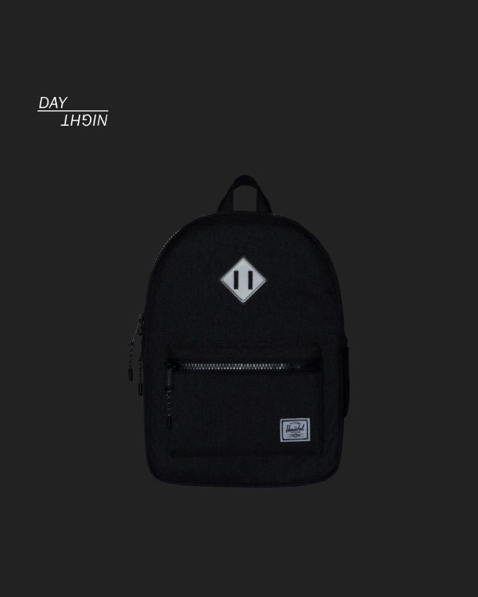 ccb03d7350e Heritage Backpack Youth - Black Crosshatch Silver Reflective Rubber ...