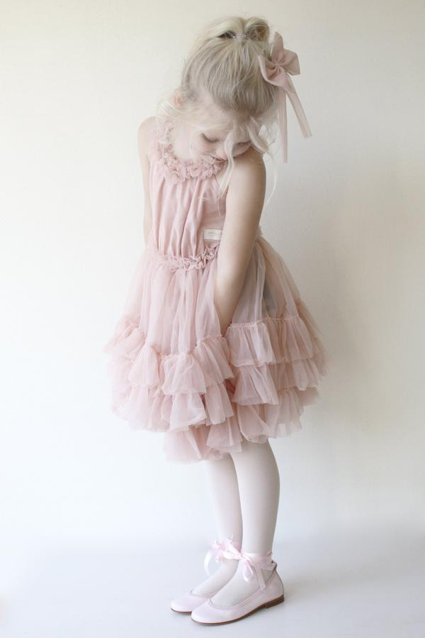 RUFFLED CHIFFON DANCE DRESS - BALLET PINK