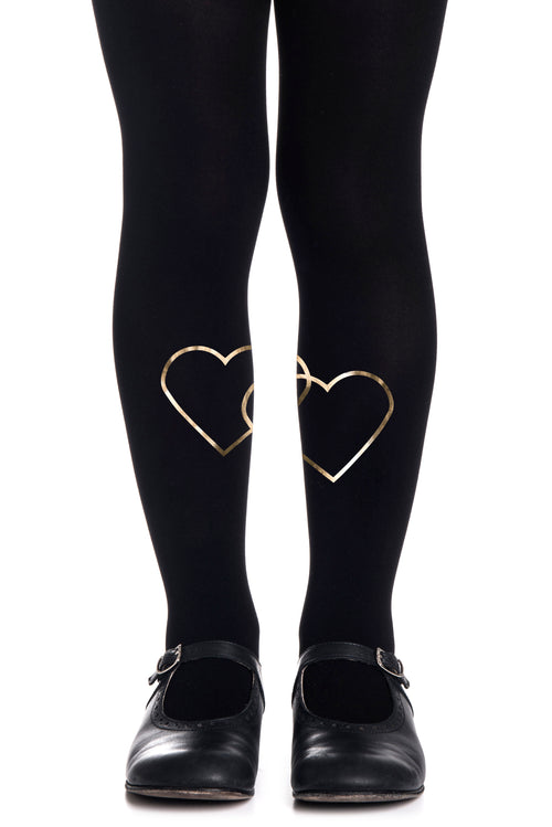 2 HEART GIRLS BLACK TIGHTS