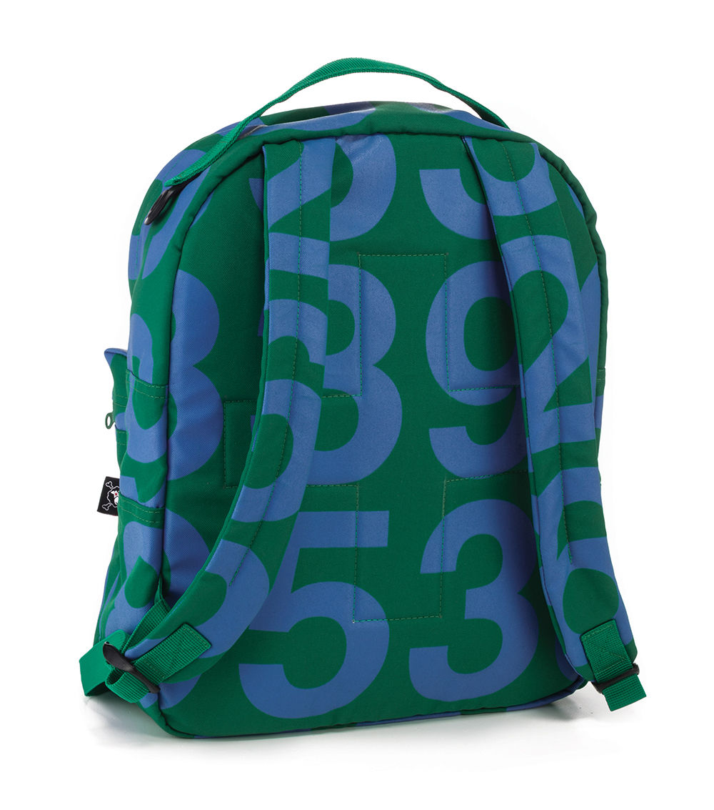 numbered backpack - blue & green