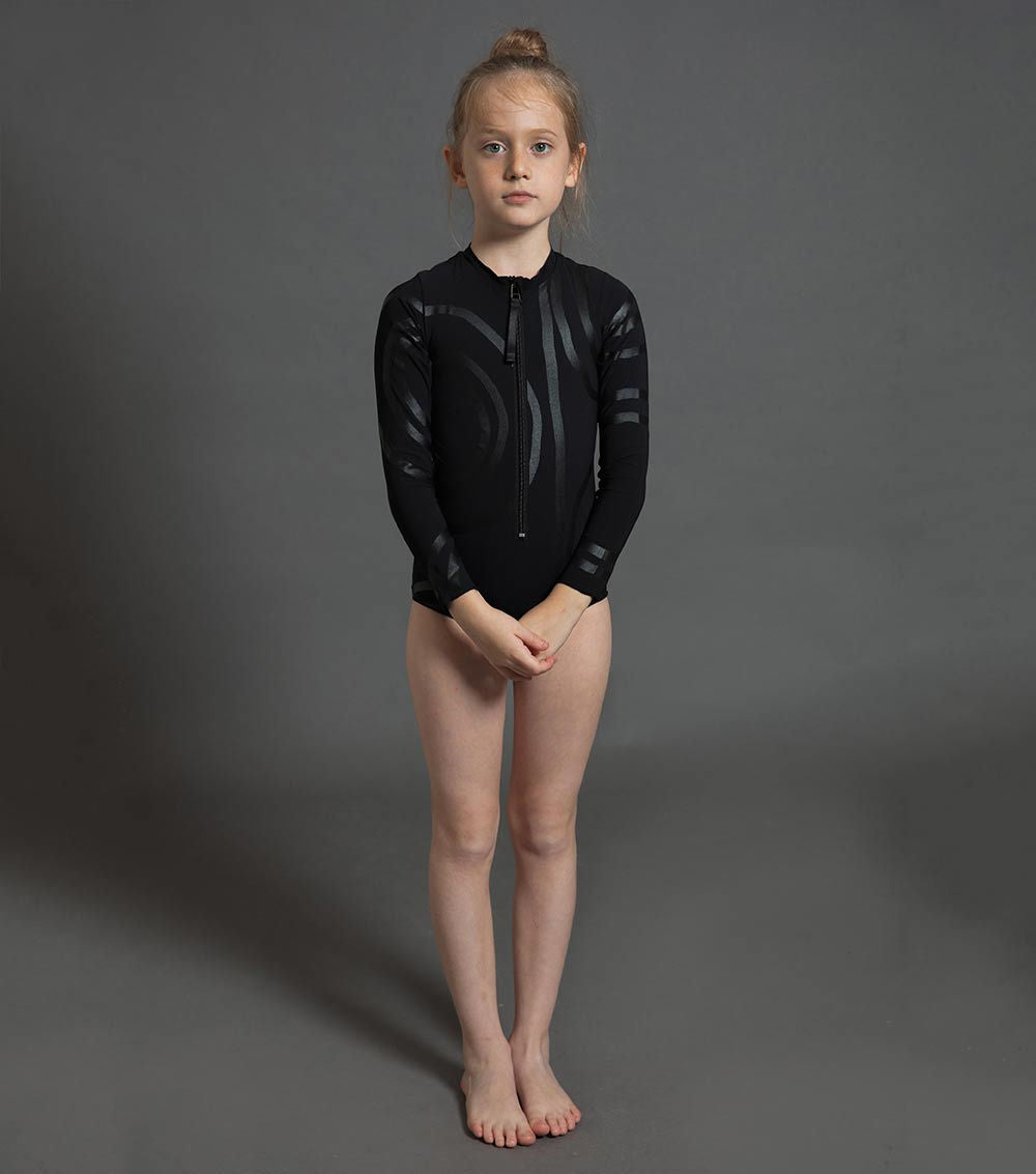 circle long sleeved swimsuit - black