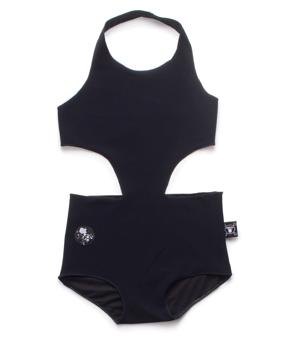 cut out swimsuit - black