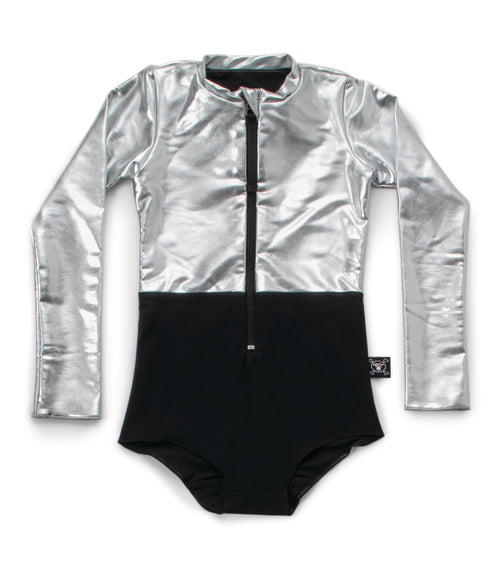 half & half long sleeved swimsuit - black/silver