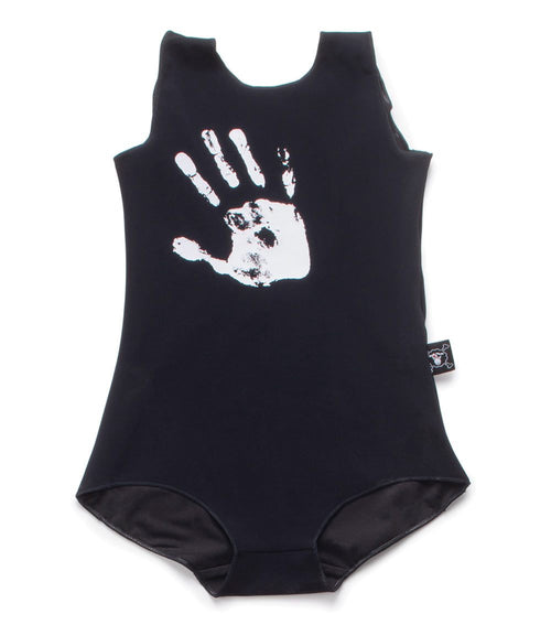 hand print swimsuit - black