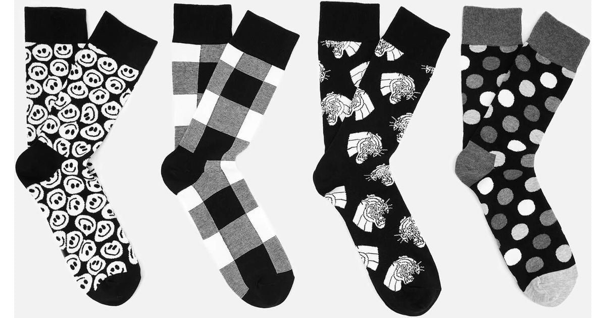 Happy socks - black and white(41-46)