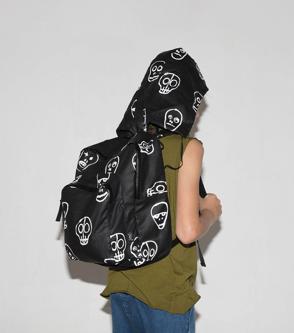 תיק גן \ בית ספר - NUNUNU skull mask black & white back pack